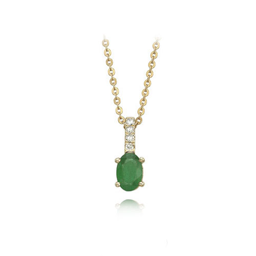 Jewelry - Oval Emerald And Diamond Necklace.