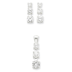 Jewelry - Sterling Silver 3 Stone CZ Earring & Pendant Set.