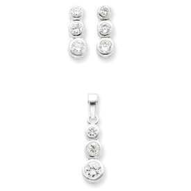 Jewelry - Sterling Silver 3 Stone CZ Earrings and Pendant Set.