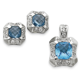 Jewelry - Sterling Silver Blue & Clear CZ Pendant & Earring Set.