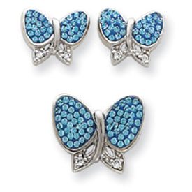 Jewelry - Sterling Silver Blue Crystal Butterfly Earrings And Pendant Set.