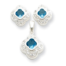 Jewelry - Sterling Silver Blue CZ Earrings and Pendant Set.