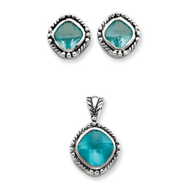 Jewelry - Sterling Silver Blue CZ Pendant & Earring Set.