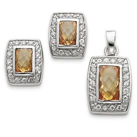 Jewelry - Sterling Silver Champagne & Clear CZ Pendant & Earring Set.