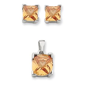 Jewelry - Sterling Silver Champagne Color CZ Pendant & Earring Set.