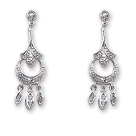 Jewelry - Sterling Silver CZ Chandelier Earrings.