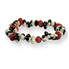 Black Cow Bean & Colorin Bean Stretch Bracelet
