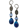 Black-Plated  Blue Crystal Briolette Leverback Earrings