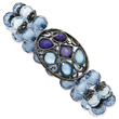 Black-Plated  Blue Crystal Medallion Stretch Bracelet