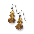 Black Plated Luxury Cut Faceted Yellow Crystal Earrings