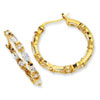 Gold-plated Sterling Silver In/Out CZ Post Hoop Earrings