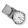Polished Nickel-plated White Dial Watch Money Clip