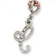 Silver-Tone Crystal Initial C Spring Ring Charm