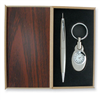 Silver-tone Engraveable Watch Key Ring and Pen Gift Set ring