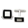 Sterling Silver and Black Enamel Cuff Links