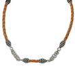 "Sterling Silver Antiqued 18"" Braided Tan Leather Necklace"