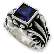 Sterling Silver Antiqued Blue Cubic Zirconia Mens Ring