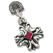Sterling Silver Antiqued Heart & Red Cubic Zirconia Pendant