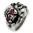 Sterling Silver Antiqued Skull With Red Cubic Zirconia Mens Ring