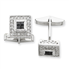 Sterling Silver Black and Clear CZ Cuff Links