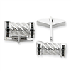 Sterling Silver Black CZ Barrel Cuff Links