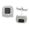 Sterling Silver & Black Rhodium Blue & Clear CZ Cuff Links