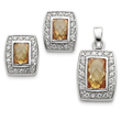 Sterling Silver Champagne & Clear CZ Pendant & Earring Set