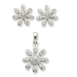 Sterling Silver CZ Flower Pendant & Earring Set