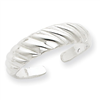 Sterling Silver Ribbed Toe Ring