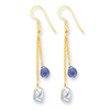 Sterling Silver & Vermeil Iolite/Grey Cultured Pearl Earrings
